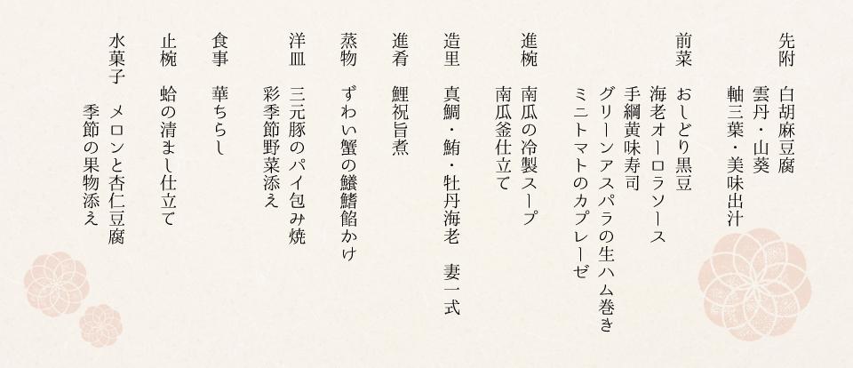 10000円コースお品書き